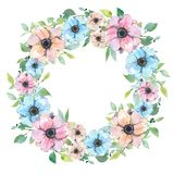 Guirnalda de la acuarela con las flores Primavera o verano floral para la invitación libre illustration