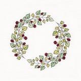Guirnalda de la acuarela con las hojas y las bayas de frambuesas Foto de archivo