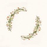 Guirnalda de la acuarela con las hojas y las ramas del verde Fotos de archivo