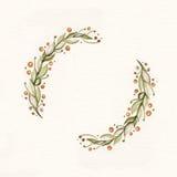 Guirnalda de la acuarela con las hojas y las ramas del verde Imagen de archivo