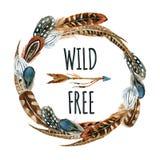 Guirnalda de la acuarela con las plumas de pájaro y flecha aislada en el fondo blanco libre illustration