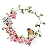 Guirnalda de la acuarela con las ramas de árbol, el flor de la manzana, el pájaro y la pajarera Ejemplo floral pintado a mano ais ilustración del vector