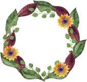 Guirnalda de la acuarela del otoño de flores stock de ilustración
