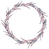 Guirnalda de la acuarela de las ramas del rosa, grises y azules del eucalipto libre illustration