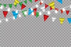 Guirnalda de la bandera del empavesado del arco iris, aislada en el fondo blanco, ejemplo del vector Foto de archivo libre de regalías