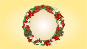 Guirnalda de la decoración de la Feliz Navidad con los conos del pino y vídeo de la poinsetia ilustración del vector