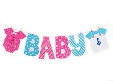 Guirnalda de la decoración del muchacho y de la muchacha de la fiesta de bienvenida al bebé Foto de archivo libre de regalías