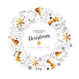 Guirnalda de la decoración del oro de la Navidad y del Año Nuevo Imagen de archivo libre de regalías