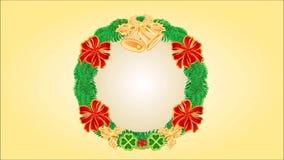 Guirnalda de la Feliz Navidad con las campanas y las cintas video libre illustration