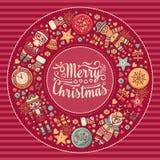 Guirnalda de la Feliz Navidad con los juguetes de la Navidad Fotos de archivo libres de regalías