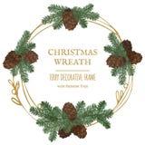 Guirnalda de la Feliz Navidad, decoración del Año Nuevo con las ramas del pino y conos Imagenes de archivo