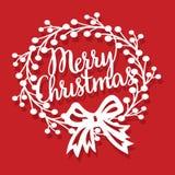 Guirnalda de la Feliz Navidad del vintage con el corte del papel del arco de la cinta ilustración del vector