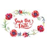 Guirnalda de la flor de la amapola del Wildflower en un estilo de la acuarela Fotos de archivo