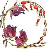 Guirnalda de la flor de la acuarela Fotografía de archivo libre de regalías