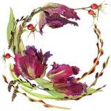 Guirnalda de la flor de la acuarela Foto de archivo libre de regalías