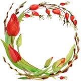 Guirnalda de la flor de la acuarela Imagen de archivo