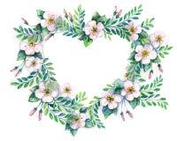 Guirnalda de la flor en un estilo de la acuarela aislada en forma de corazón ilustración del vector