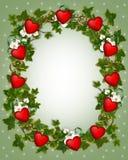 Guirnalda de la hiedra de la frontera de la tarjeta del día de San Valentín con los corazones Imagen de archivo libre de regalías