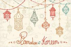 Guirnalda de la linterna de Ramadan Kareem Tarjeta del Doodle