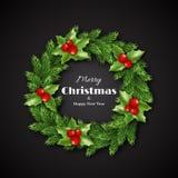 Guirnalda de la Navidad con acebo Feliz Navidad y Feliz Año Nuevo Foto de archivo libre de regalías