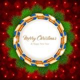 Guirnalda de la Navidad con la cinta Imagen de archivo libre de regalías
