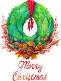 Guirnalda de la Navidad con el árbol de navidad de la decoración Imagen de archivo libre de regalías