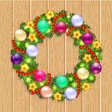 Guirnalda de la Navidad con el abeto y el acebo stock de ilustración