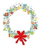 Guirnalda de la Navidad con el precio y el arco rojo Imagen de archivo libre de regalías