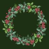 Guirnalda de la Navidad con las bayas en fondo verde fotos de archivo