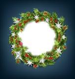 Guirnalda de la Navidad con las estrellas de la plata por la Feliz Año Nuevo 2019 Carde el modelo imagen de archivo libre de regalías