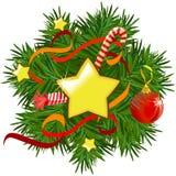 Guirnalda de la Navidad con las estrellas y las decoraciones Foto de archivo libre de regalías