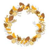 Guirnalda de la Navidad con las mandarinas y los conos del pino imagen de archivo libre de regalías