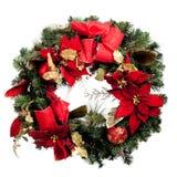 Guirnalda de la Navidad con rojo y oro en blanco imagenes de archivo