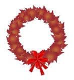 Guirnalda de la Navidad de hojas de arce y de arcos rojos Imagen de archivo