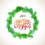 Guirnalda de la Navidad de la acuarela Fotografía de archivo