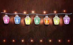 Guirnalda de la Navidad de linternas que brillan intensamente Imágenes de archivo libres de regalías