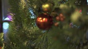 Guirnalda de la Navidad del árbol de abeto con las bolas, el cono y las bayas rojas del acebo en la ventana de cristal Cierre enc almacen de metraje de vídeo