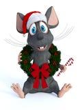 Guirnalda de la Navidad del ratón de la historieta que lleva y sostener el bastón de caramelo stock de ilustración