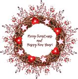 Guirnalda de la Navidad del vintage hecha de ramas Libre Illustration