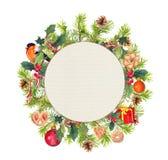 Guirnalda de la Navidad - el pino ramifica, pájaro, muérdago, actual caja watercolor Fotografía de archivo