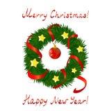 Guirnalda de la Navidad en el fondo blanco Fotografía de archivo libre de regalías