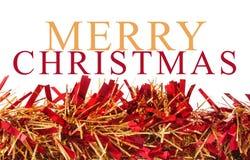 Guirnalda de la Navidad en el fondo blanco con messa de la Feliz Navidad Imágenes de archivo libres de regalías