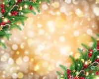 Guirnalda de la Navidad en fondo de oro rico del bokeh libre illustration