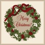 Guirnalda de la Navidad Navidad Año Nuevo Ejemplo del vintage del vector Imágenes de archivo libres de regalías