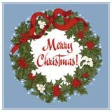 Guirnalda de la Navidad Navidad Año Nuevo Ejemplo del vintage del vector Fotografía de archivo libre de regalías