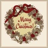 Guirnalda de la Navidad Navidad Año Nuevo Ejemplo del vintage del vector Imagen de archivo libre de regalías