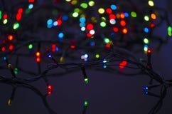 Guirnalda de la Navidad que brilla intensamente Fotografía de archivo libre de regalías