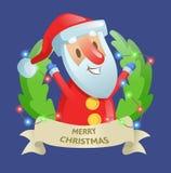 Guirnalda de la puerta del día de fiesta de la Navidad con Papá Noel y la guirnalda Con amor Ejemplo plano colorido del vector Ai Stock de ilustración