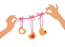 Guirnalda de la tarjeta del día de San Valentín Imagen de archivo libre de regalías