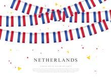 Guirnalda de las banderas de Países Bajos Day de rey en los Países Bajos ilustración del vector